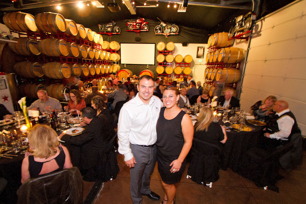 Damian and Samantha Doffo at an event in the MotoBarrel Room.
