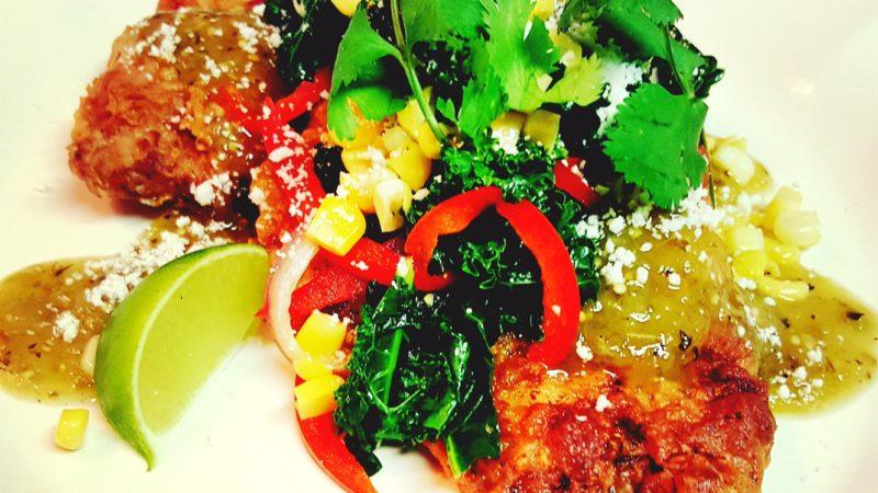 Wine Club Recipe: Milanesa with Kale, Corn and Tomatillo Salsa
